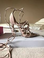JustFab Blush Lace Up Heeled Sandals