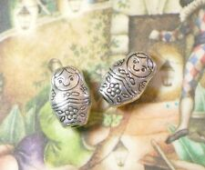 Babushka Matryoshka Beads 12mm - Ant Silver - 10pcs (2)