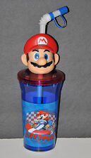 SUPER MARIO CUP AND STRAW  HEAD TUMBLER CUP SIPPER BOYS GIFT 14 OZ NINTENDO 3D