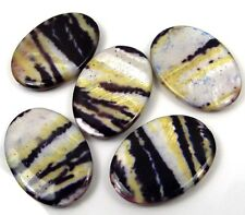 35x25mm Banded Mother Of Pearl Oval MOP Pendant Beads (5)