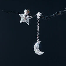 Personality 925 Soild Silver Asymmetric Stars Moon Sterling Earring Accessories