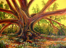 'Tree of Life' Limited Signed Print painting landscape flower face roots surreal