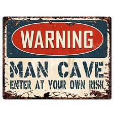 PP2629 WARNING MAN CAVE ENTER Chic Sign Home Store Wall Decor Funny Gift
