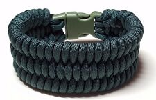 Hunter Green Trilobite Style Wide Weave Unisex Paracord Survival Bracelet