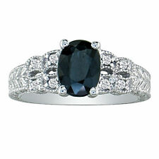 10K WHITE GOLD 1 1/2CT SAPPHIRE AND DIAMOND  VINTAGE RING