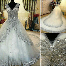 V NECK white Luxury Custom crystals cathedral train wedding bridal dress gown