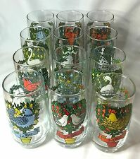 12 Days of Christmas Glass Tumbler Complete Set of Twelve - One for Each Day