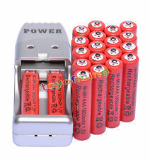 Chargeur USB Rouge + 20X AAA 3A 1800mah1.2V batterie NiMH rechargeable
