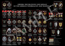 A2 Poster: medals, orders & decorations of Wehrmacht & Waffen SS. Iron cross.