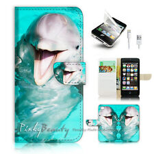 iPhone 5 5S Flip Wallet Case Cover! P1226 Dolphin