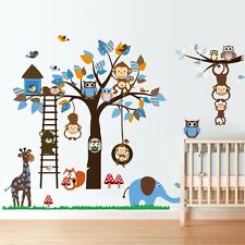 Monkey Swing owl Hoot animal Tree Wall Decals Removable stickers kids baby decor