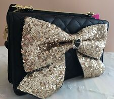 Betsey Johnson Blk Gold Sequin Bow Crossbody Purse Clutch Wallet Diva Bag Heart