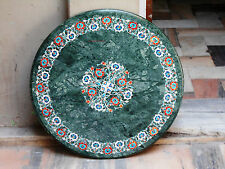 GREEN MARBLE DINING COFFEE ROUND SIDE TABLE TOP 3' MOSAIC INLAY WORK