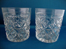 Pair Stuart Crystal Waverley Cut Pattern Tumblers Signed - Set 2