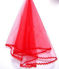 150 cm of small leaves edge red classic bridal veil--FREE SHIPPING ONLY $7.90