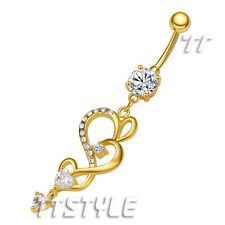 TT Clear CZ Heart 14K Gold GP Dangle Belly Bar Ring BL73J