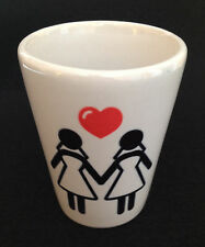 Lesbian Women Just Married Holding Hands SHOT Glass - GAY -FREE & FAST SHIPPING!