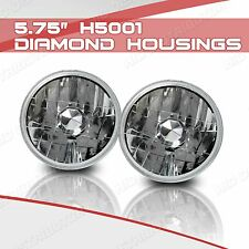 H5001 5.75 Round Sealed Beam Headlight Diamond Housing with H4 Halogen Bulbs (A)