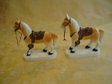 PAIR OF VINTAGE ROYAL JAPAN PORCELAIN HORSE FIGURINES ~ YELLOW W/ BRWON SADDLE
