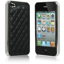 Back PU Leather Gel Hard Case Cover Skins Protector For apple iPhone 4 4S