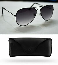 Aviator Grey Sunglasses Black Premium Quality For Men & Women FREE LEATHER COVER