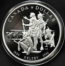 1990 Canada Silver Proof Dollar Coin Uncirculated Henry Kelsey Tricentennial