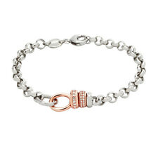 NEW-FOSSIL 2 TONE ROSE GOLD+SILVER CHAIN LINK,CRYSTAL, BRACELET JF01607998