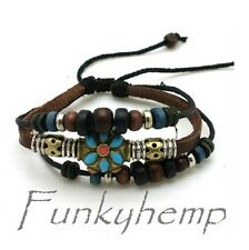 Surf Hemp Leather w Color Beads  Bracelets W3-1
