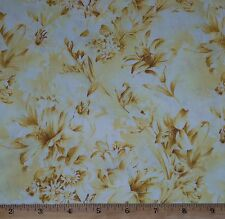 """Day Lily"" Floral Fabric by Yards Yellow tone on tone Quilt Sew 100% Cotton"