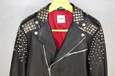 SUPER GORGEOUS !!! MOSCHINO STUDDED BIKER ROCK&ROLL LEATHER JACKET EU 50 US 40
