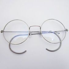 48mm Vintage Retro Antique Shiny Silver Wire Rim Round Eyeglass Frame Spectacles