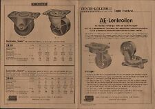 TENTE/Rhld., Prospekt 1950, Kugel-Fabrik Schulte & Co. Tente AE-LenkRollen Räder
