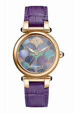 Ferragamo Women's FI2040013 IDILLIO Diamond Gold IP Purple Leather Wristwatch
