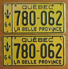 Quebec 1964 License Plate PAIR # 780-062