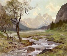 No framed Oil painting beautiful Early spring landscape with stream cross canyon