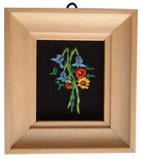 Dolls House Hand Made Miniature 1980s Embroidery Picture Light Frame Bluebell