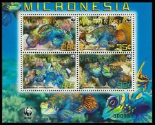 Micronesia WWF Mandarinfish 4v in block 2*2 with WWF Logo SC#848a-d MI#2052-55