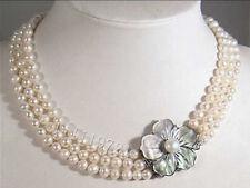 3 Reihen 6-6.5mm weiße Akoya Perlenkette 43-46-49cm