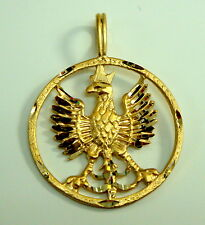 Brand New 14K Yellow Gold Polish Eagle Symbols in Circle Charm Pendant