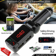 2017Dual USB Car Kit Charger Wireless Bluetooth Stereo MP3 Player FM Transmitter