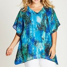 Plus Size Double Layer Blue & Green Embellished Kaftan RRP $80  Size 18