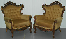 PAIR OF HAND CARVED WOOD ORNATE FRAMED FRENCH LOUIS STYLE ROCOCO ARMCHAIRS