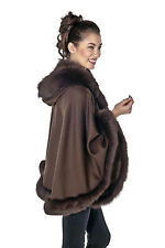 Brown Cashmere Short Hooded Cape - Real Fur Fox Trim
