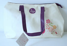 Cream & Purple Tote Bag Liner & Zipper Pocket & Purple Handle Sophia Bird Design