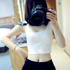 Women Tight Crop Tops Skinny O-Neck T-Shirts Sports Dance Short Vest Free Ship
