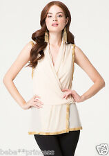 NWT bebe beige nude overall mesh sequin beaded wrap dress top tunic XS 0 2 sexy