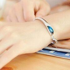 Femme Bracelet Chaîne Bangle Poignet Autriche bleu Crystal Bijoux Diamant Acier