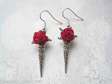 *THORN SPIKE RED ROSE* SP Drop Earrings Rockabilly NEW Gift Bag Tibetan Silver