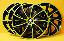 "PEUGEOT 107,206,306,309,Partner...14"" WHEEL TRIMS, COVERS, HUB CAPS,Green&Black"