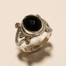 5.80 Gm Natural Black Onyx Cut Ring 925 Solid Sterling Silver Ring US 9.1 i-257